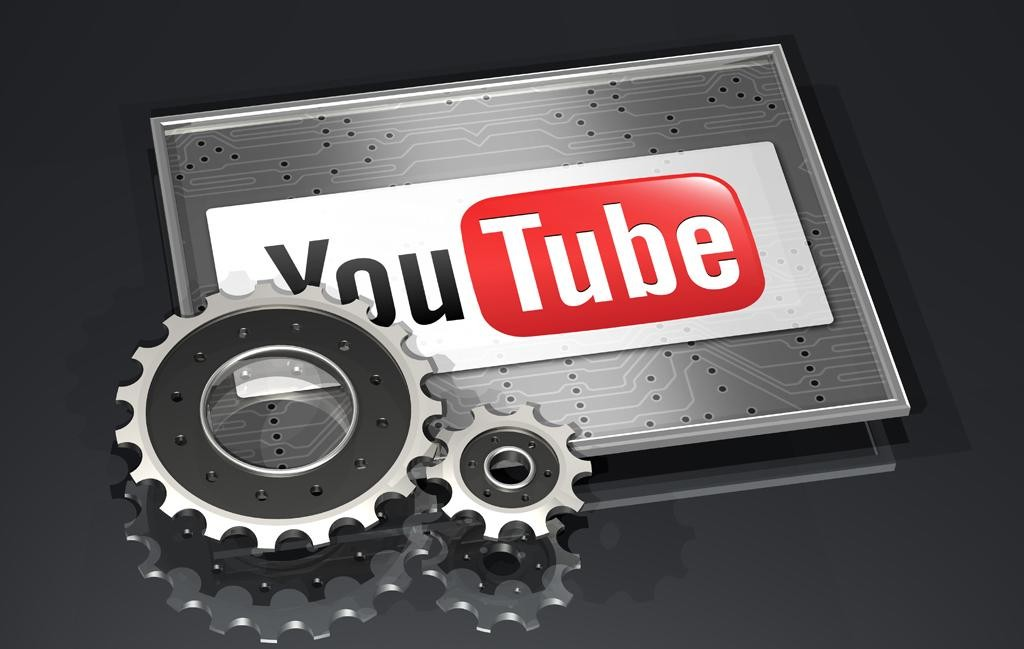 3d illustration of two large gears sitting on top of a framed YouTube logo over a dark gray reflective surface