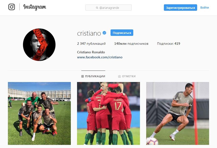 Ronaldu - У кого больше всего подписчиков в Instagram – Золотая Десятка %am_current_year%