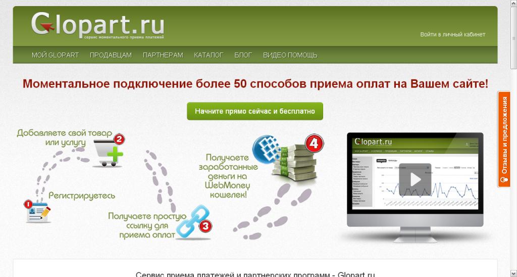 Servis momental nogo priema platezhej i katalog partnerskih programm Glopart.ru  1024x548 - Обзор сервисов для организации партнерских программ