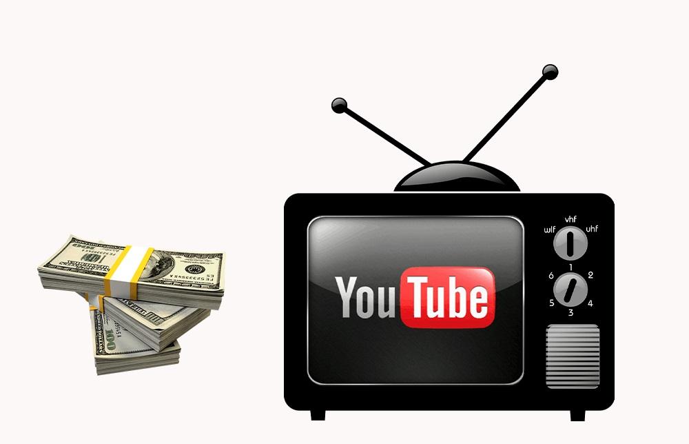 Надпись ютуб на телевизоре и деньги